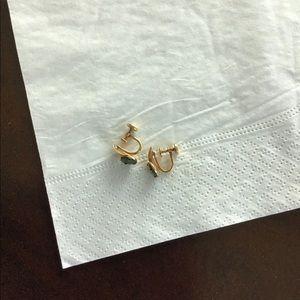 Vintage clip on jade earrings